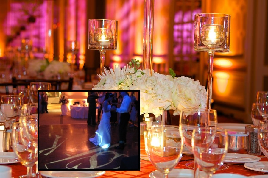 Wedding Table Setting with uplighting and Bride and Groom First Dance with custom spotlight monogram